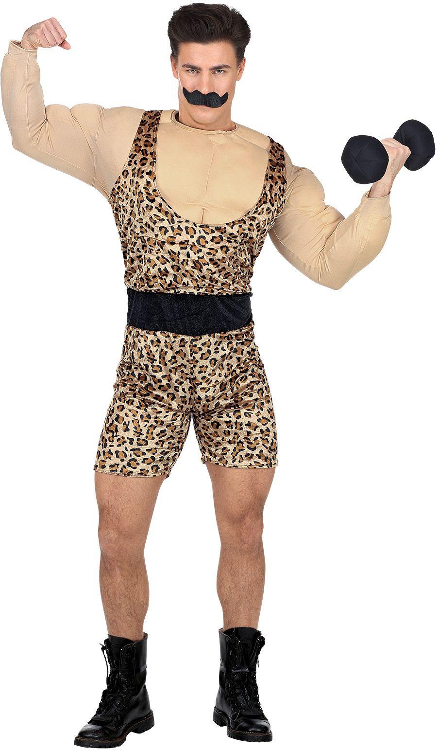 Sterke man in panterprint kostuum