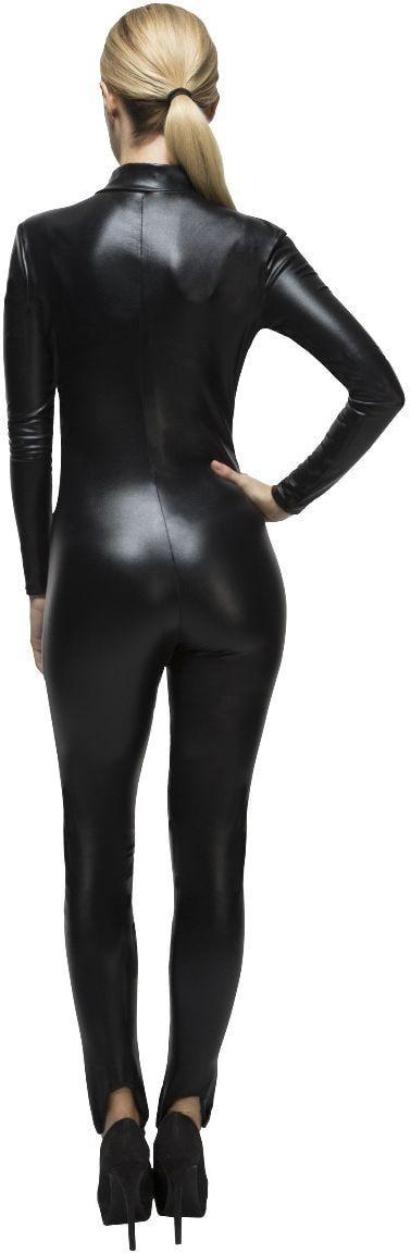 Strakke zwarte lederlook catsuit