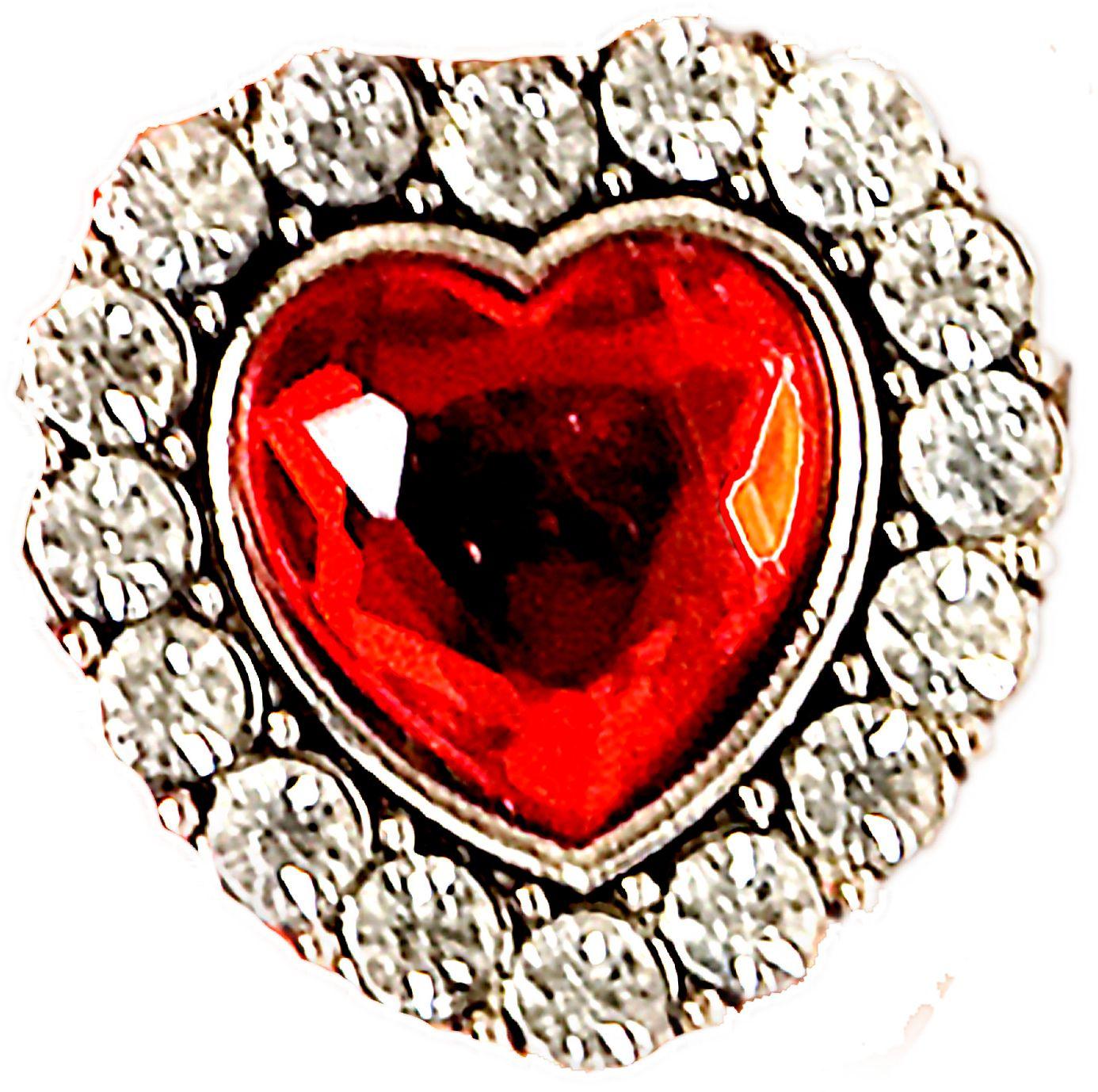 Strass ring met hartje