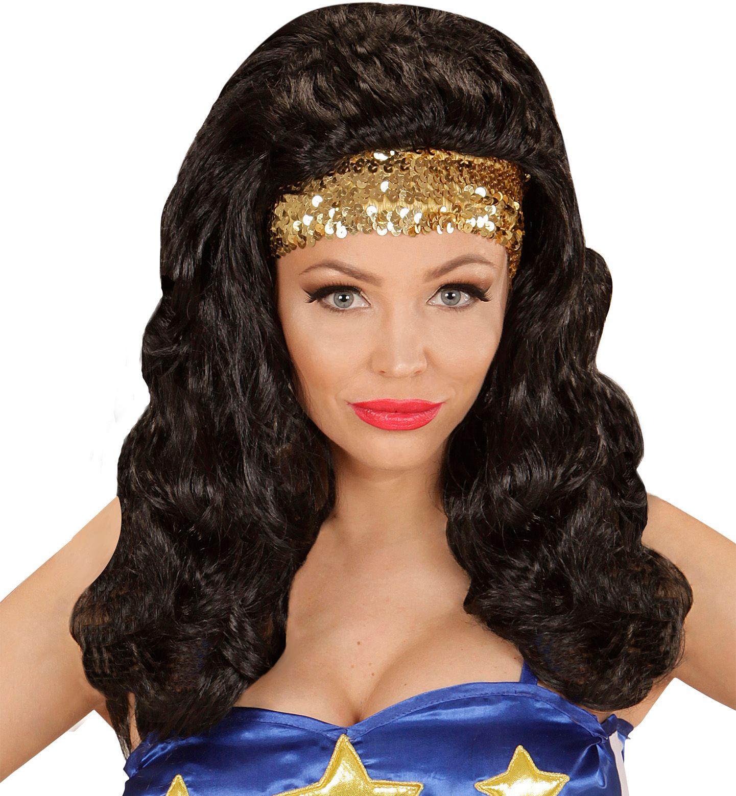 Superheldin pruik met pailletten hoofdband