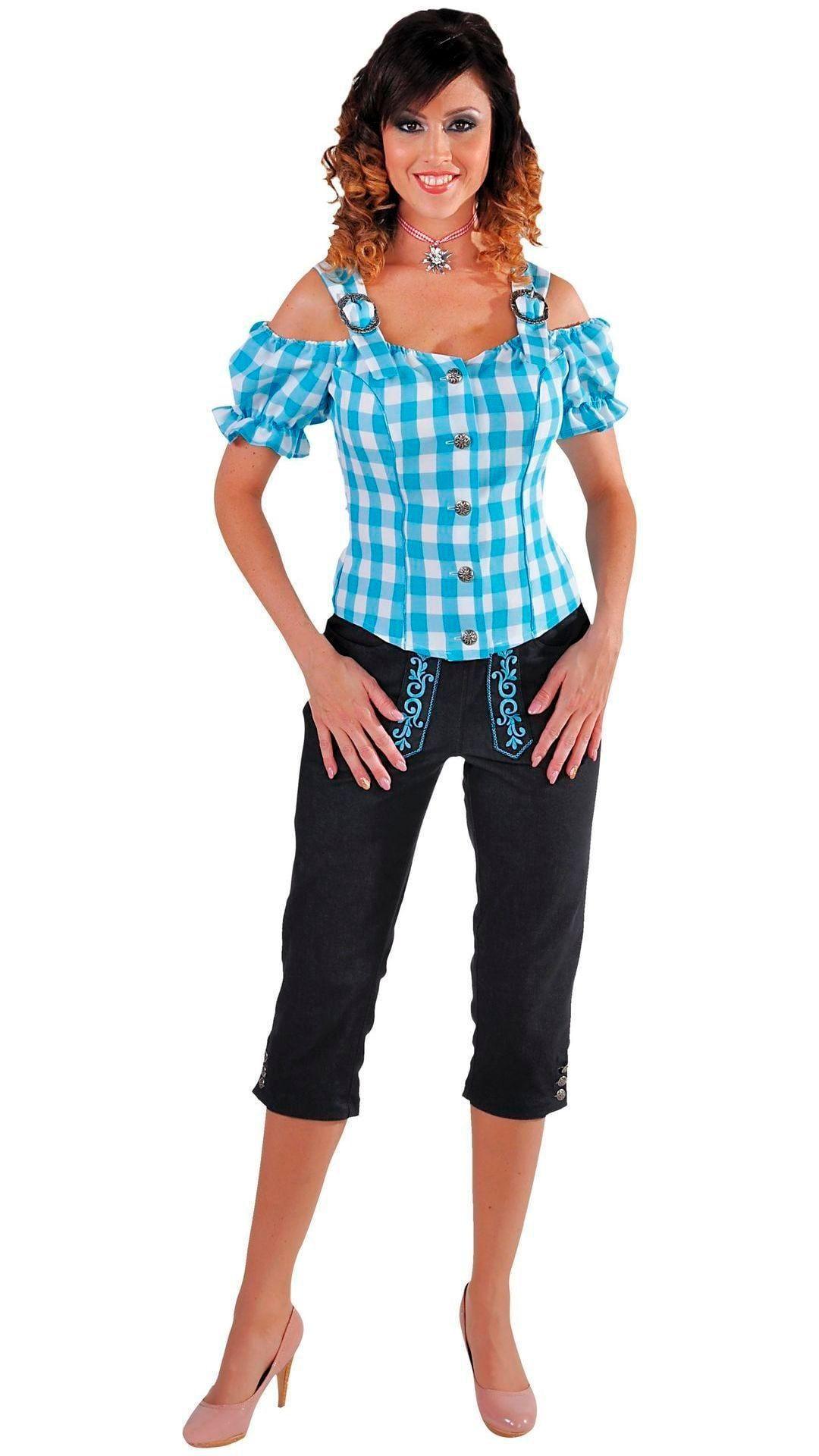 Tiroler bloesje dames blauw