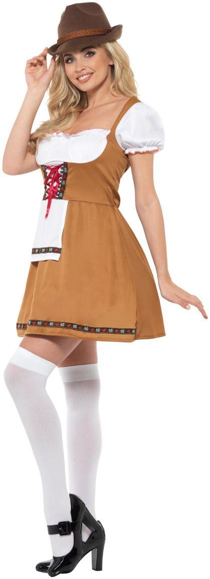 Tiroler jurkje vrouw bruin