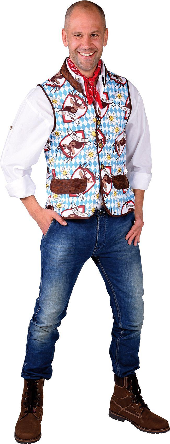 Tiroler vest blauw mannen