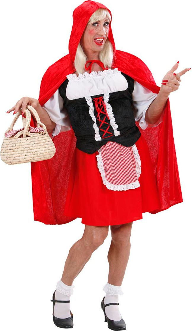 Travestiet roodkapje kostuum