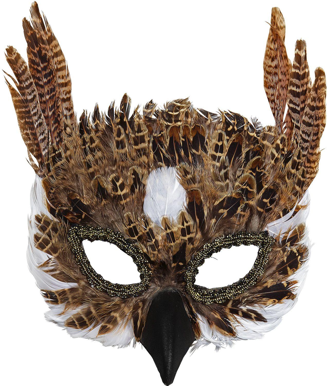 Uil oogmasker met veren