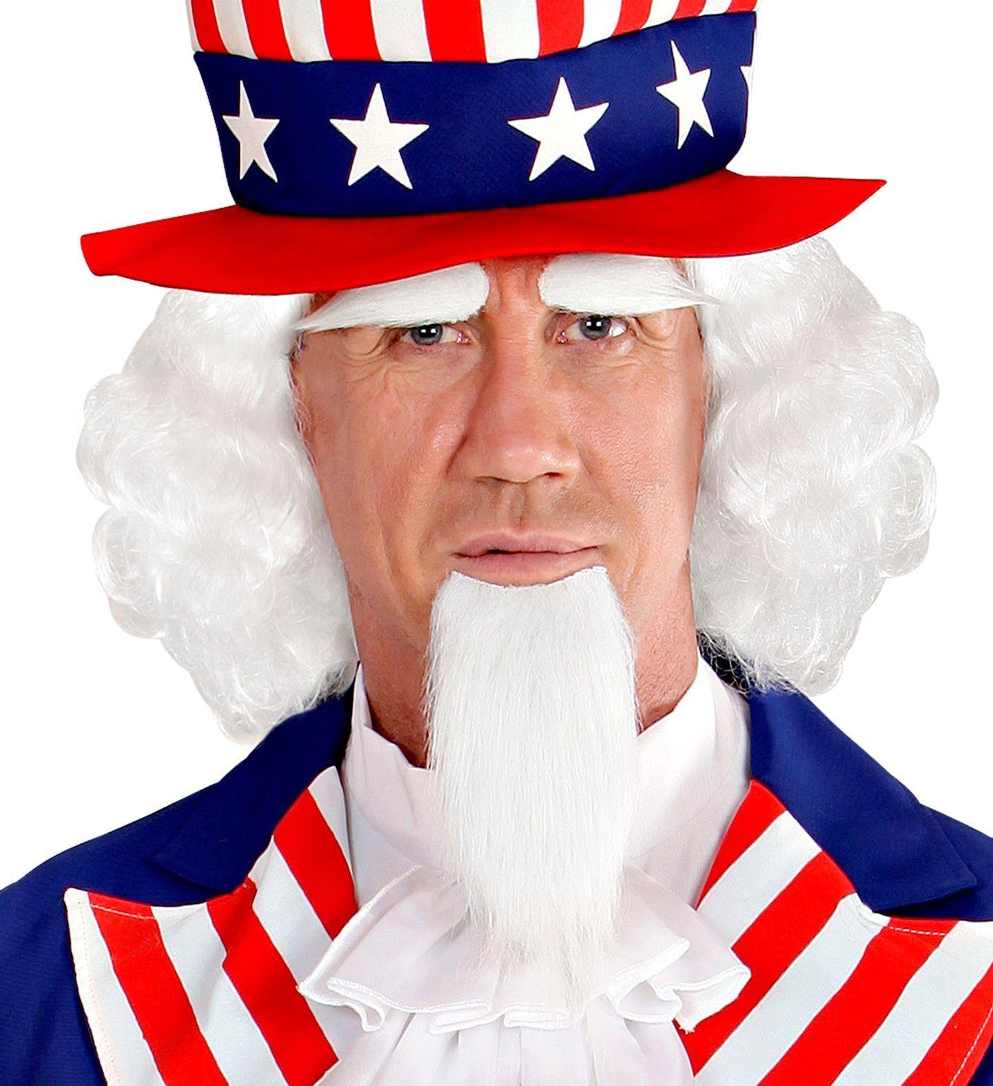Uncle Sam pruik met baard en wenkbrauwen