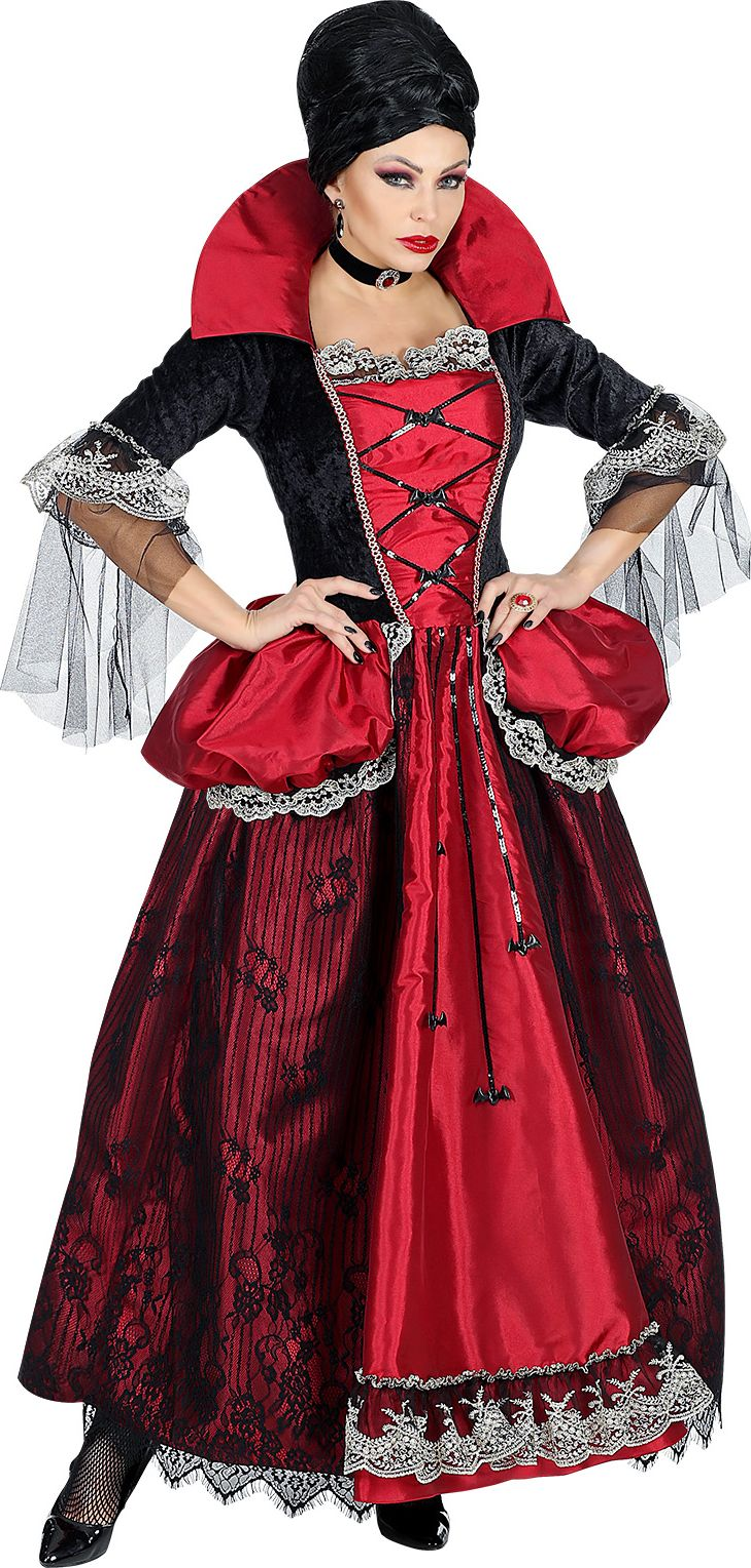 Vampier jurk vrouw rood