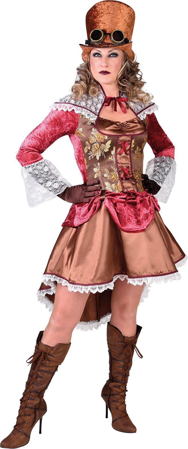 Victoriaanse jurk bruin dames