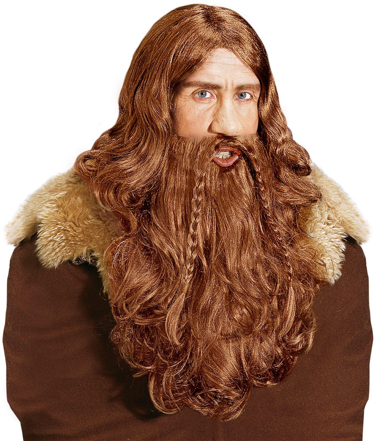 Viking pruik met baard en snor