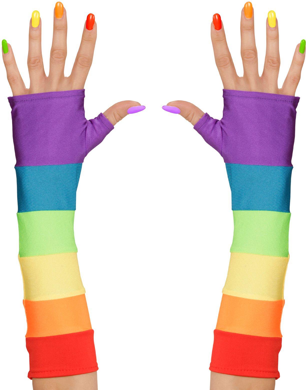 Vingerloze Gay Pride handschoenen