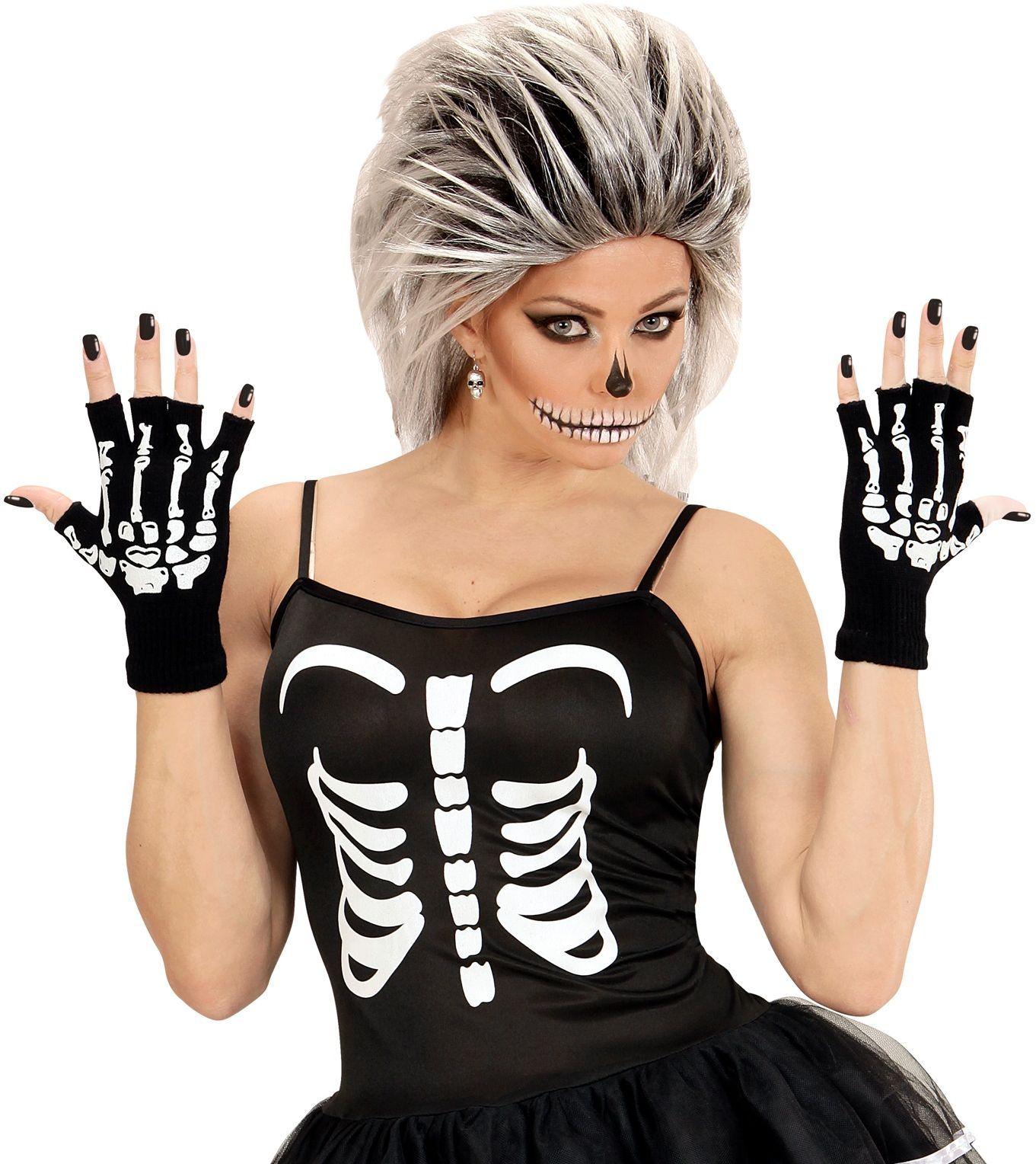 Vingerloze skeletten handschoenen