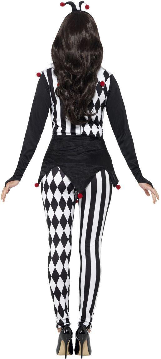 Vrouwelijke narren kostuum zwart wit