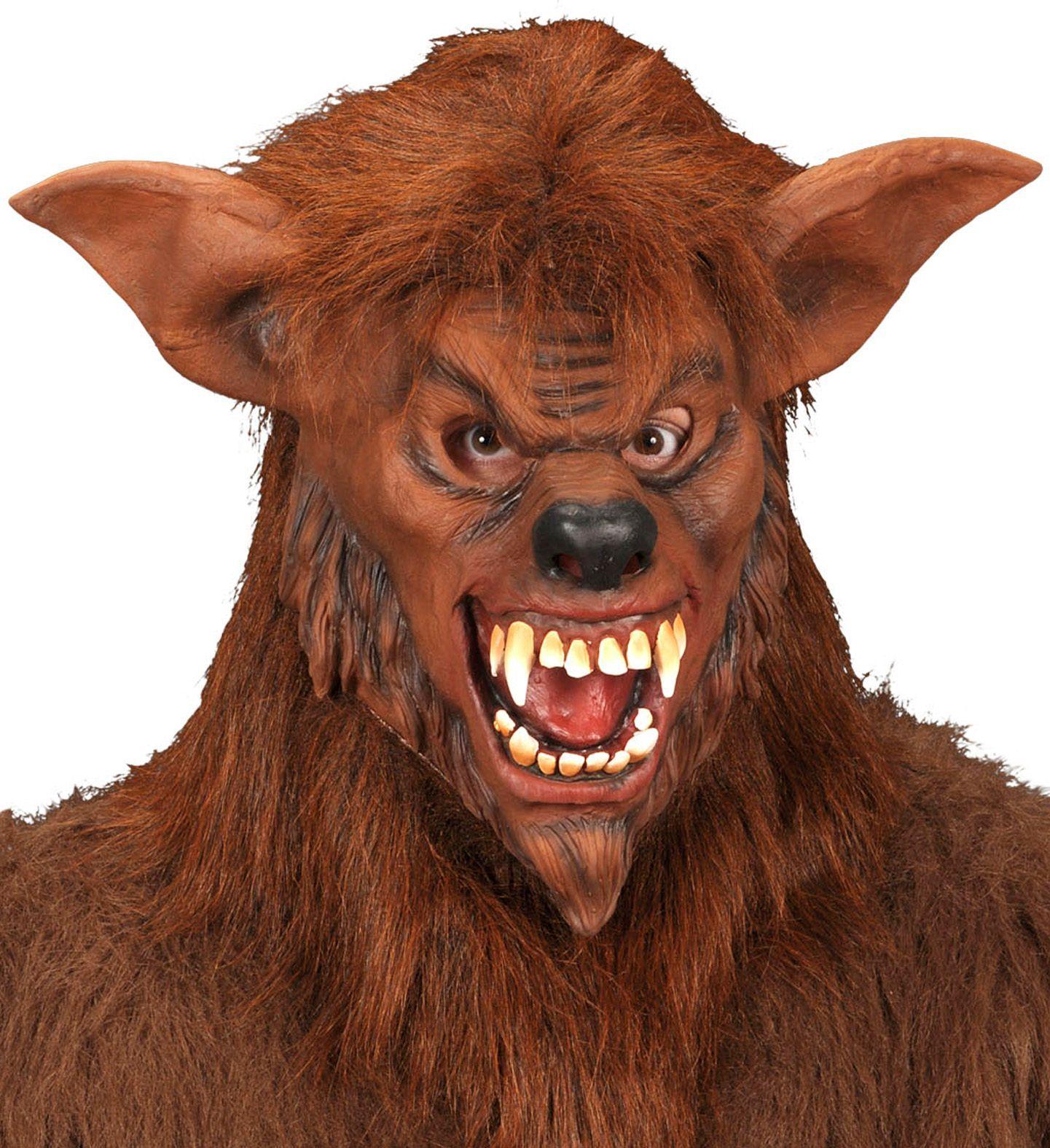 Weerwolf masker met pluche haar