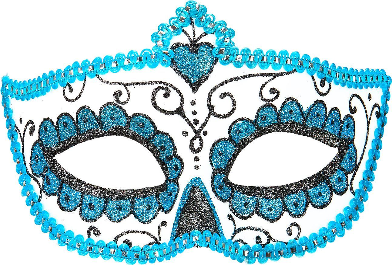 Wit blauw dia de los muertos oogmasker