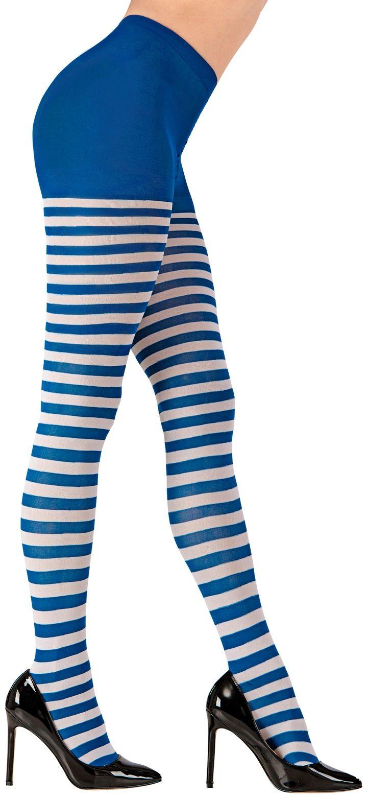 Wit blauw gestreepte panty