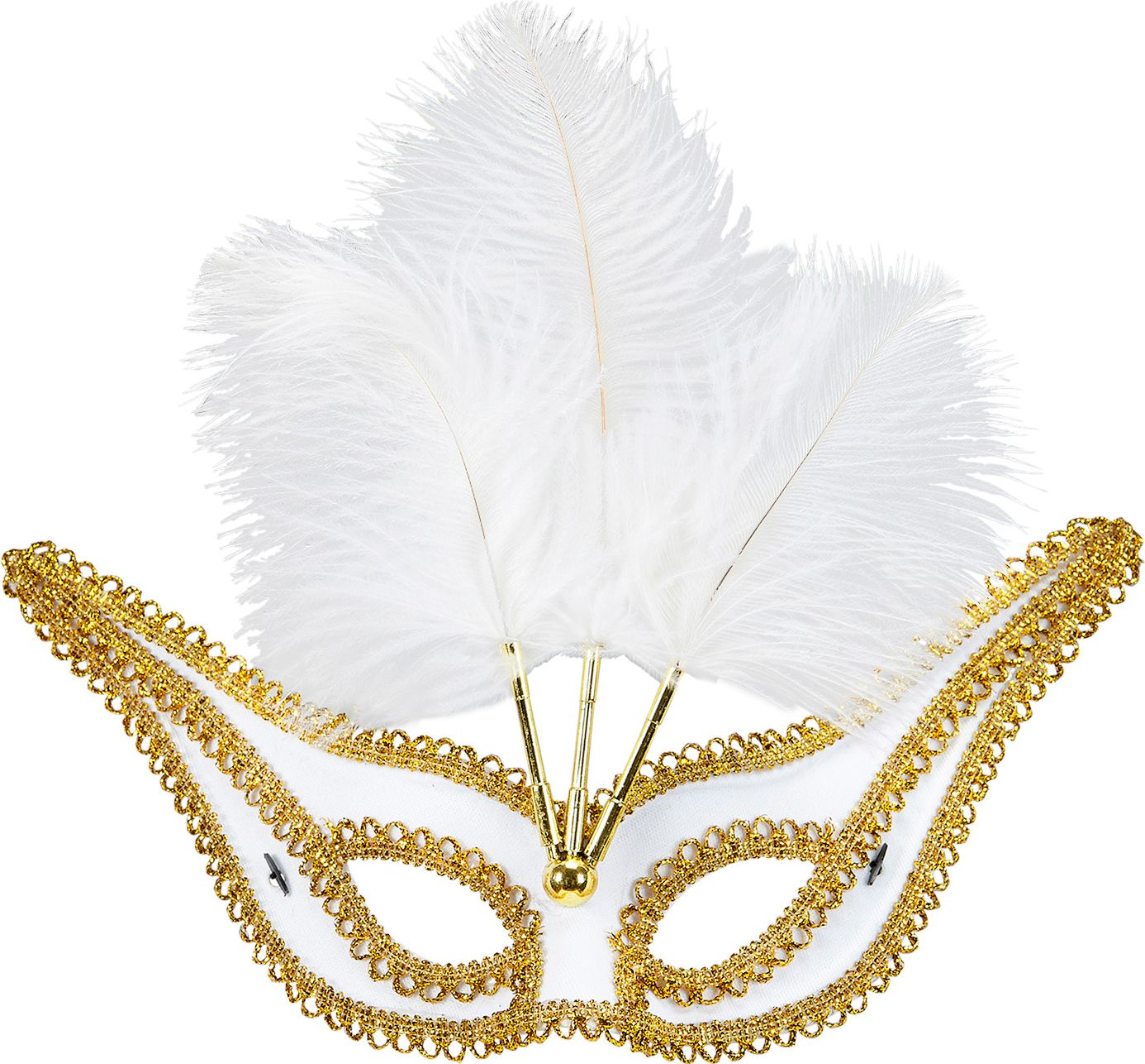 Wit oogmasker met gouden rand en veren
