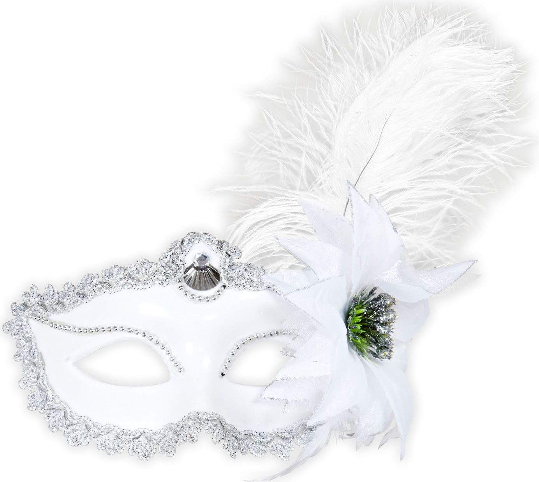 Wit oogmasker met veer en roos