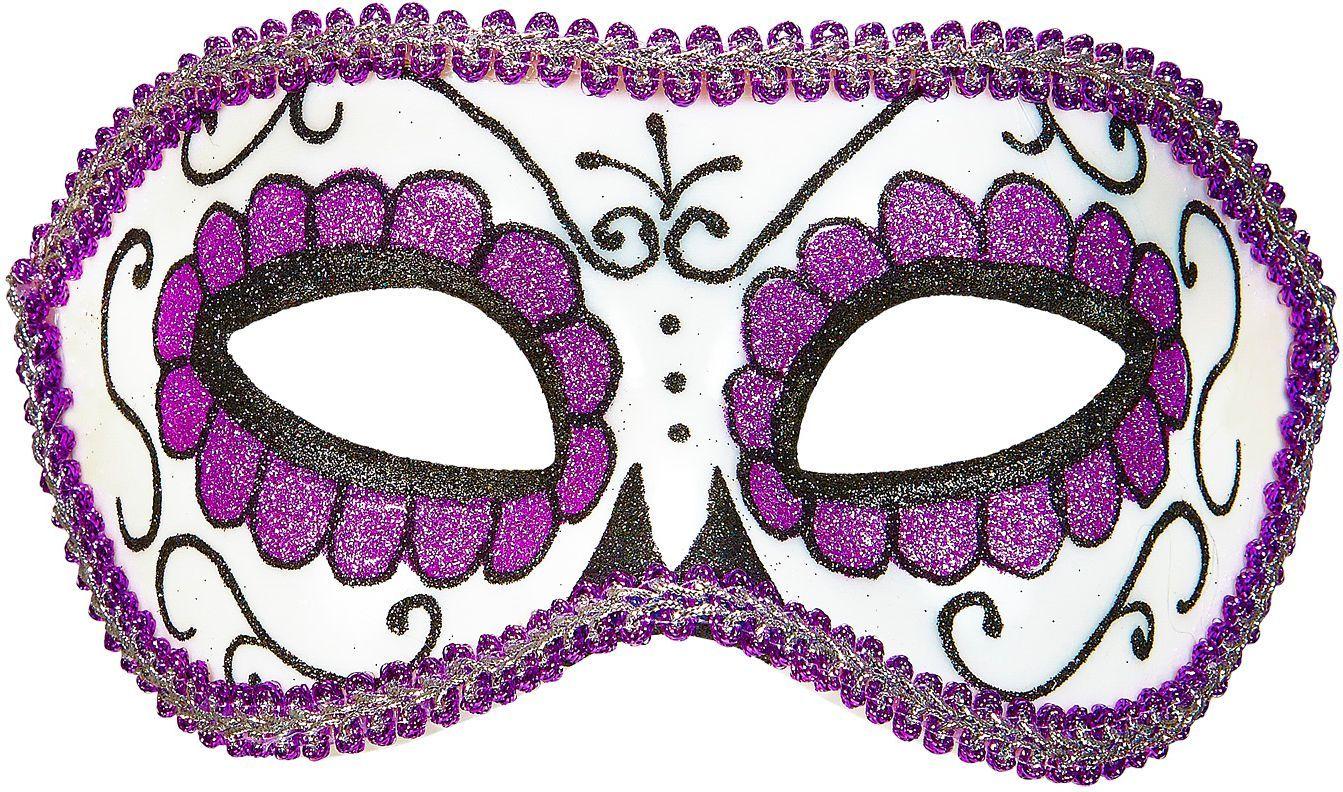 Wit paars dia de los muertos oogmasker