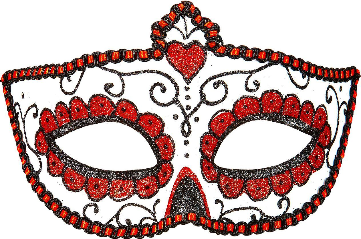 Wit rood dia de los muertos oogmasker