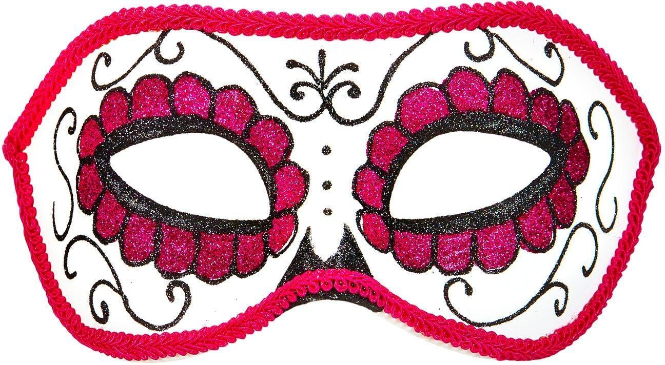 Wit roze dia de los muertos oogmasker