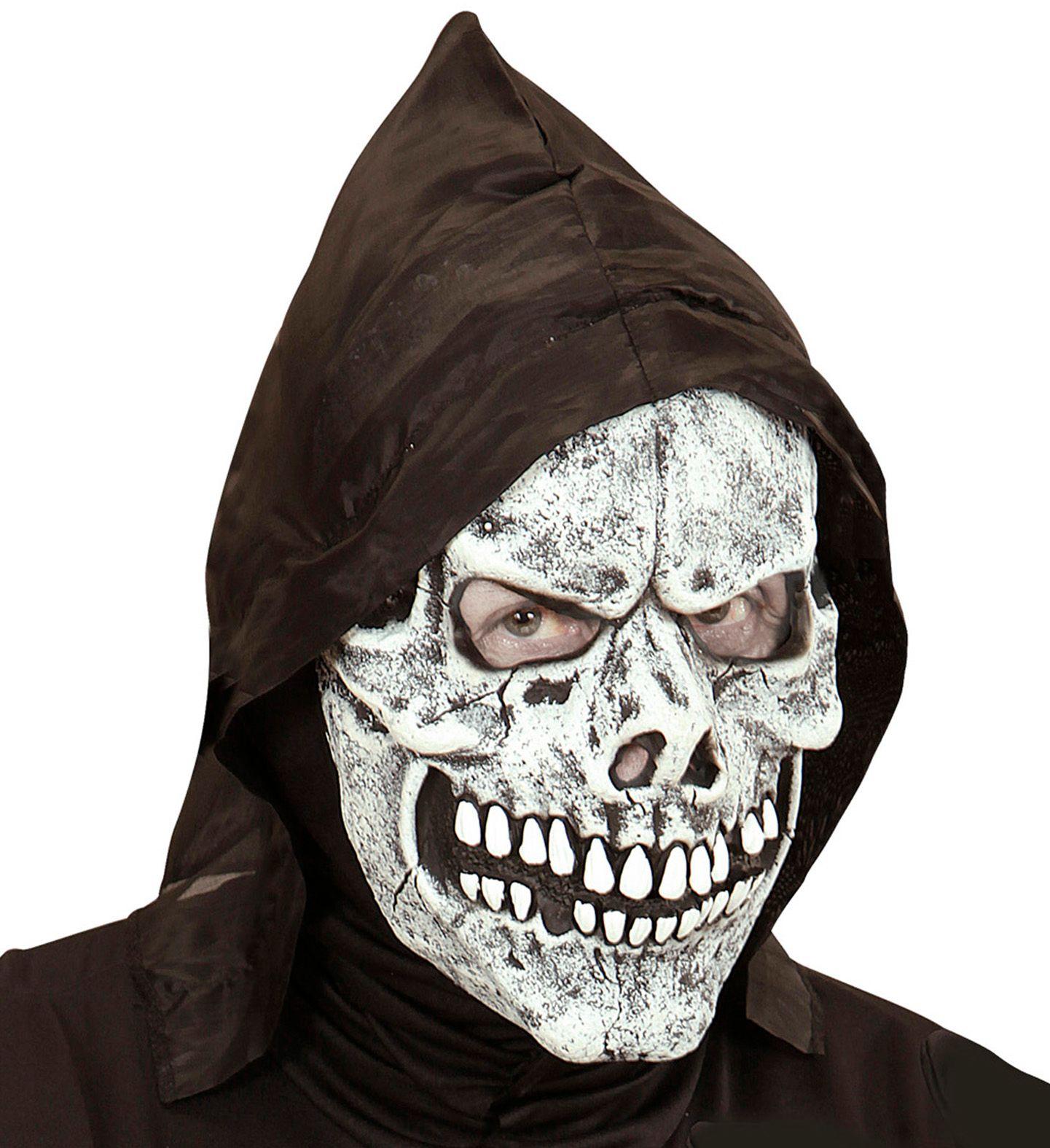 Wit schedel masker met capuchon
