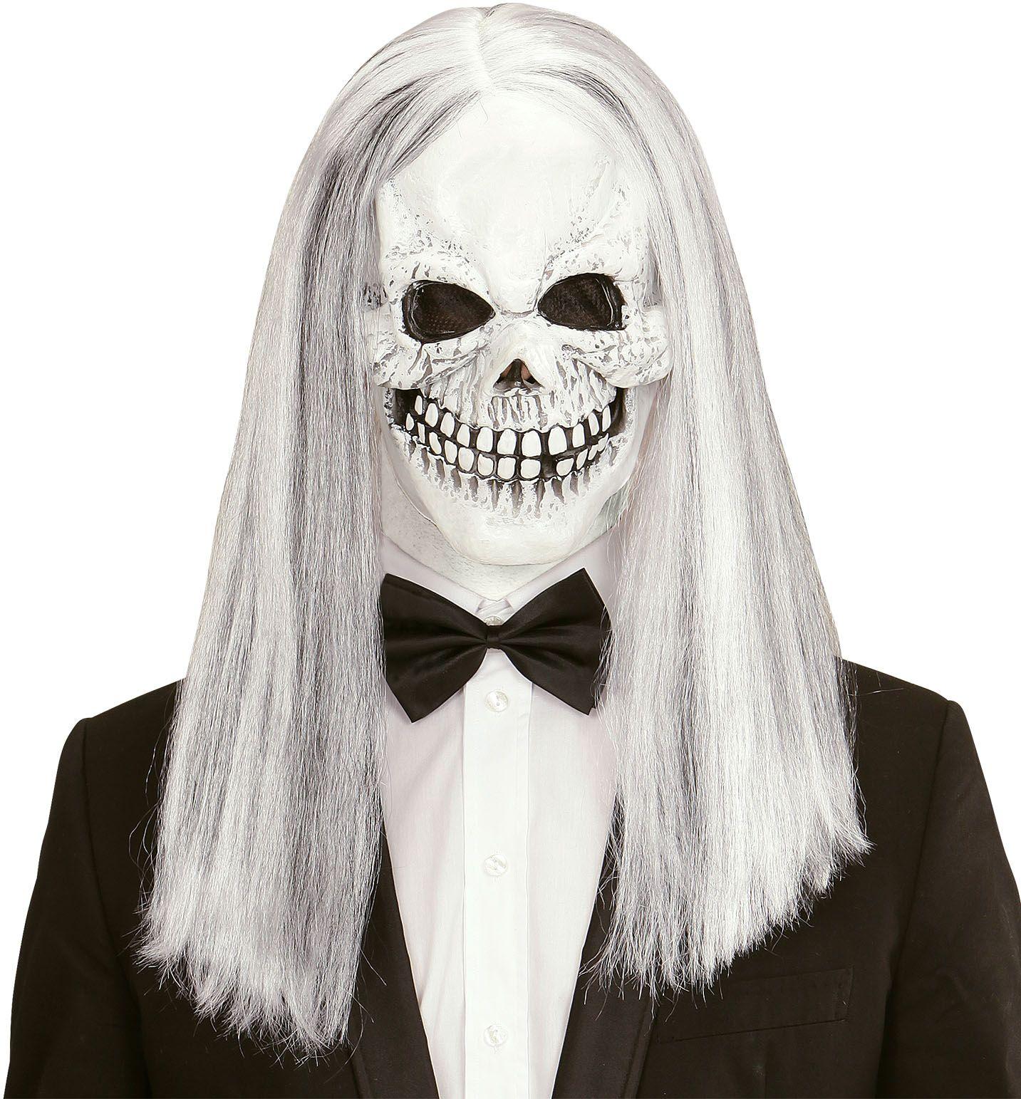 Wit schedel masker met pruik