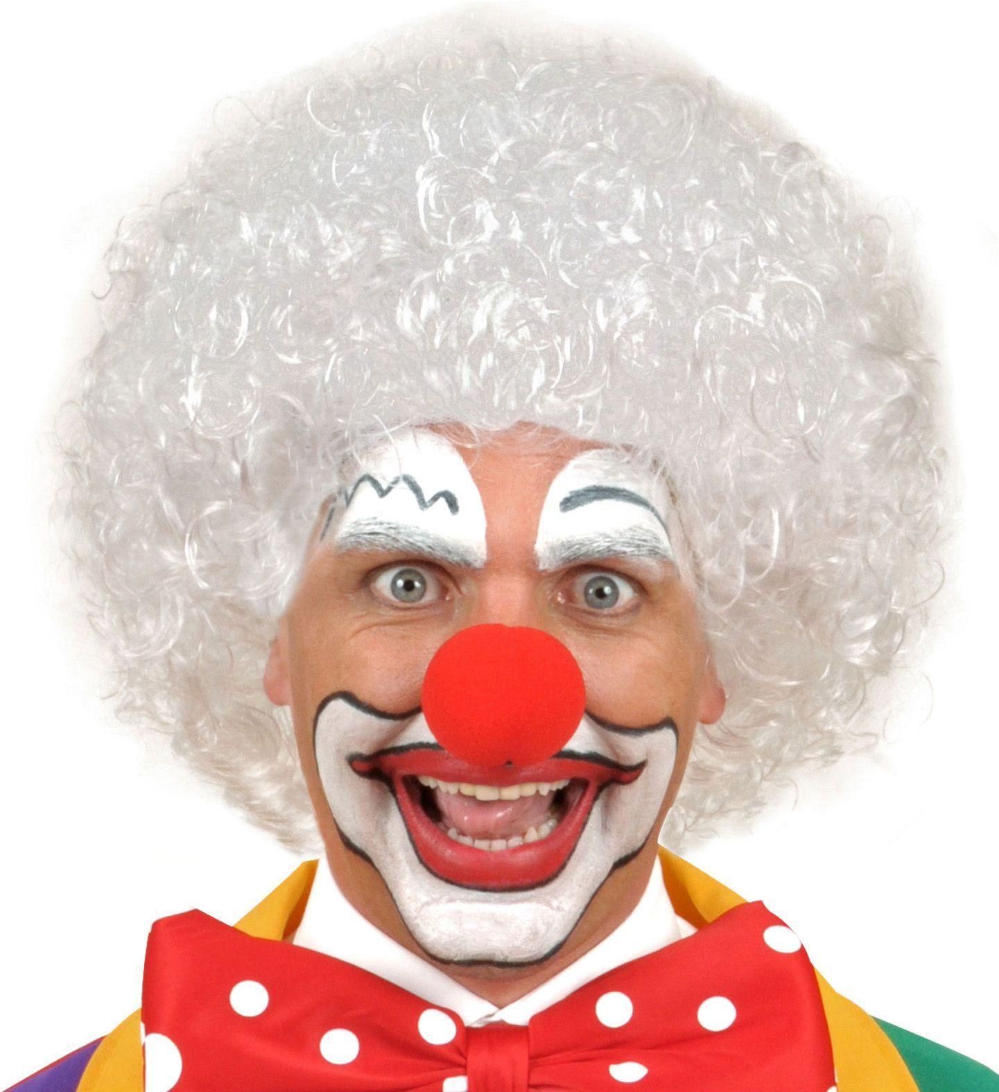 Witte clown pruik