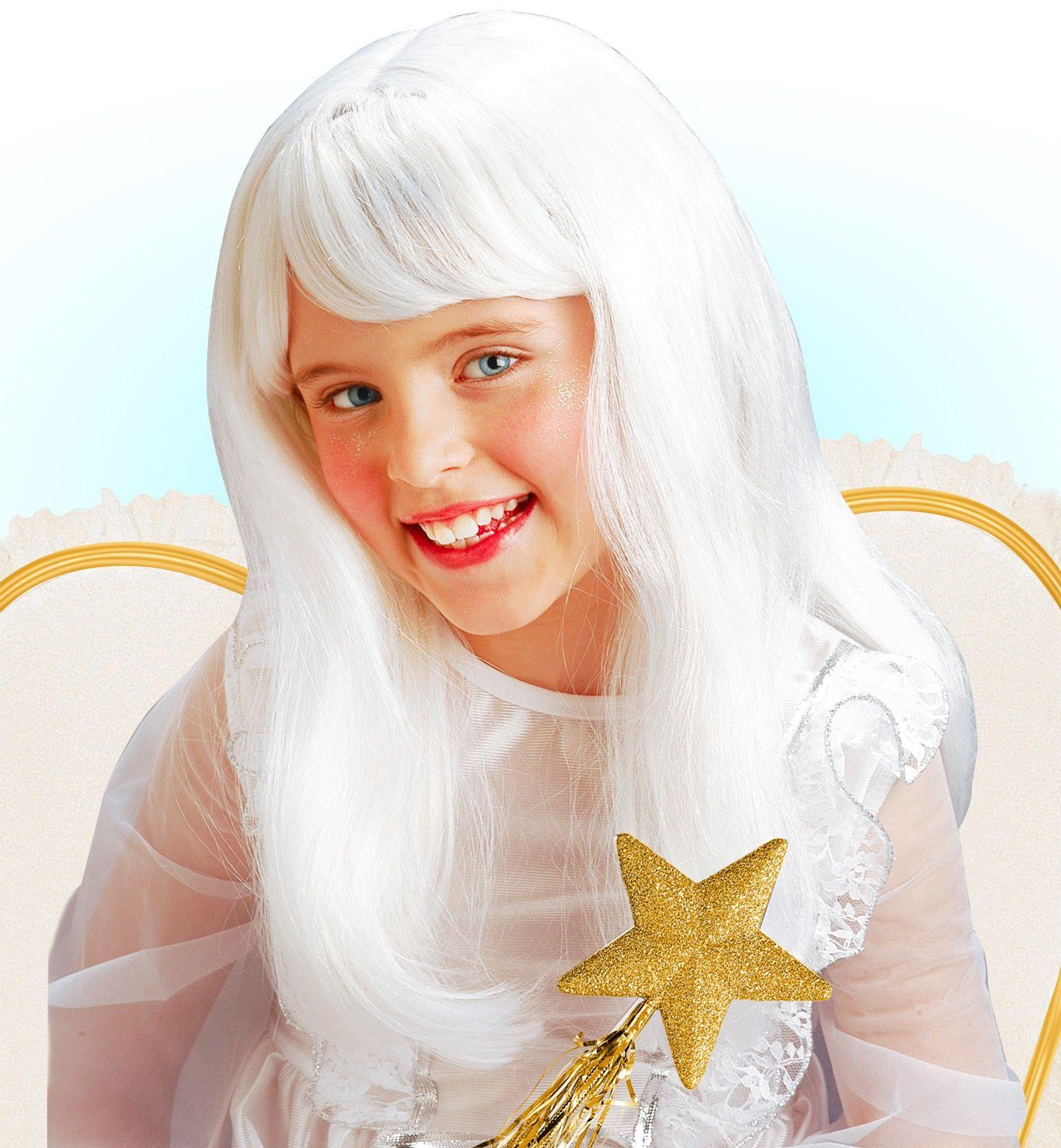 Witte engel pruik kind