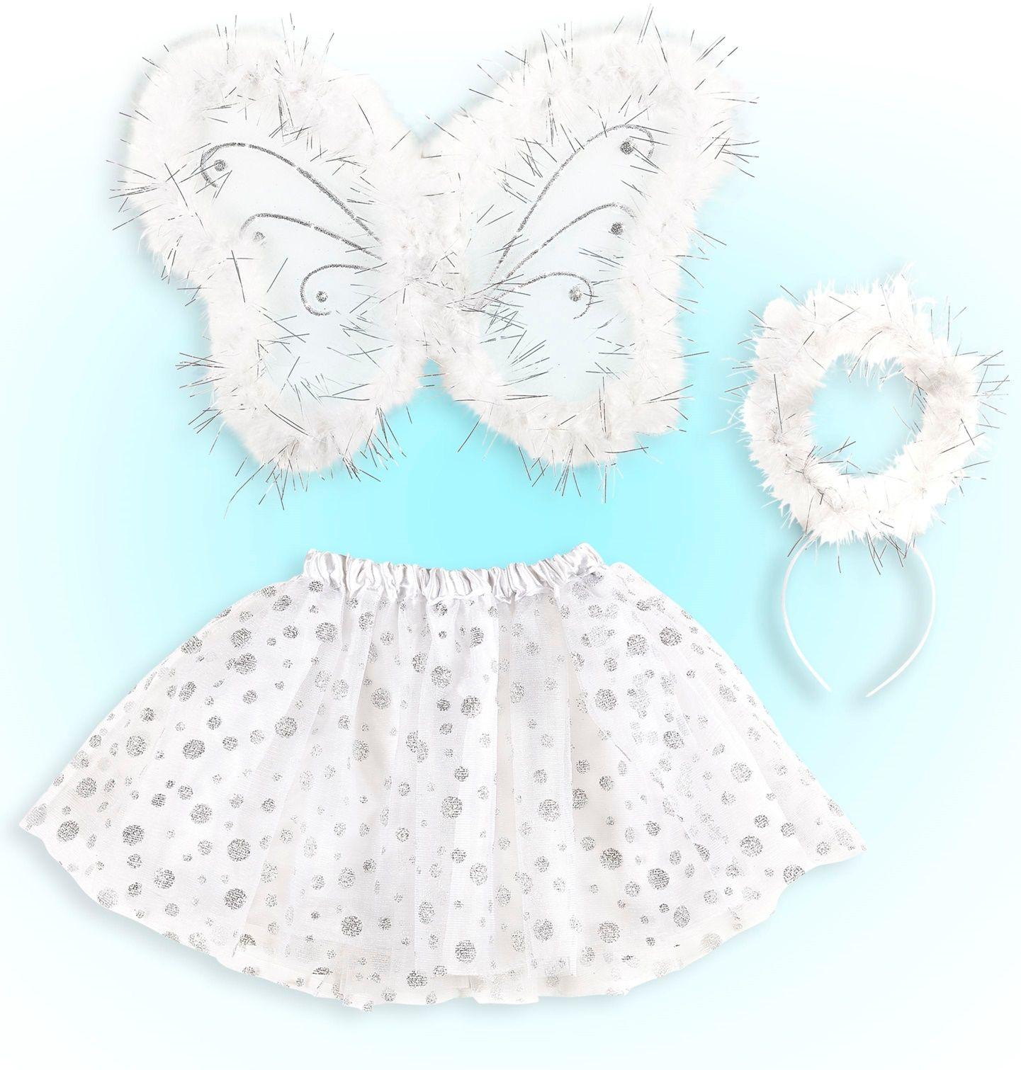 Witte engel vleugels met tutu en halo
