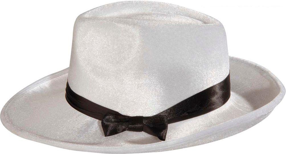 Witte fluwelen gangster hoed