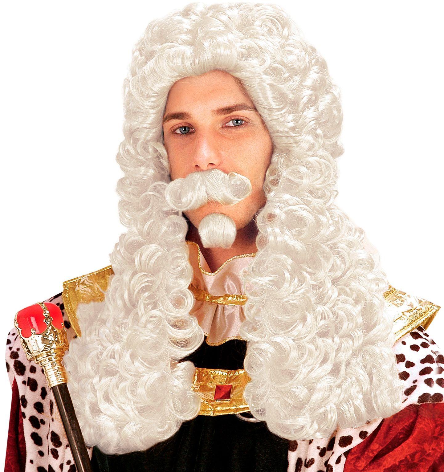 Witte francois pruik met snor en baard