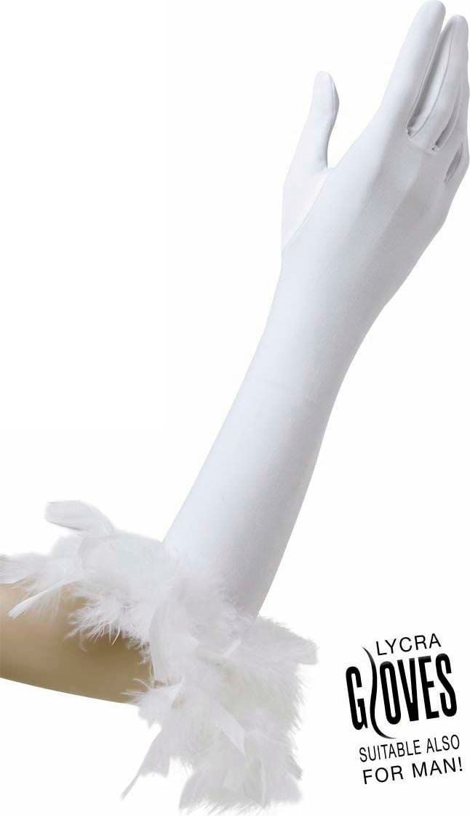 Witte gala handschoenen met veren