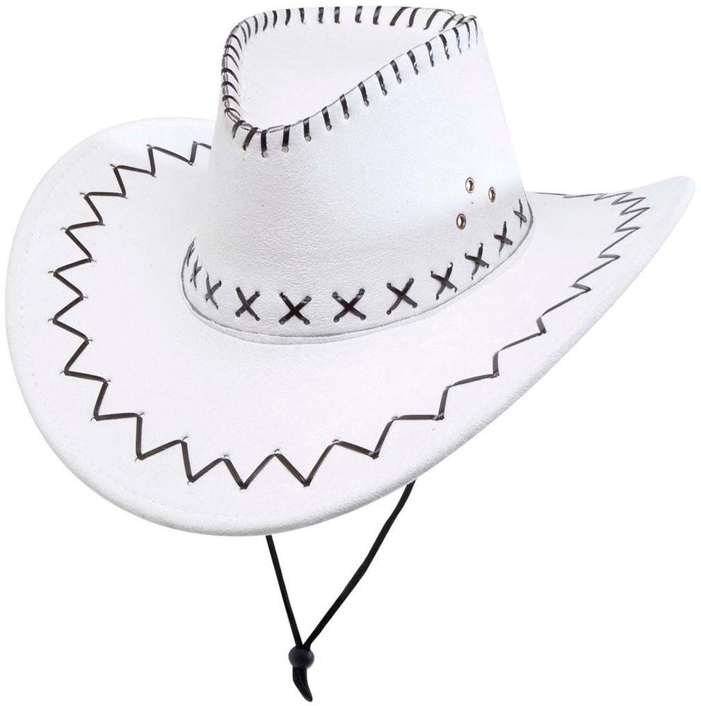 Witte gestikte cowboyhoed