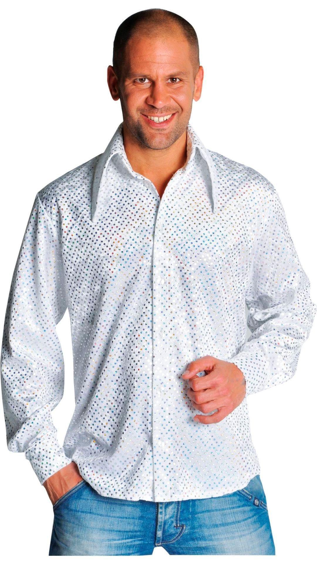Witte glitter blouse heren
