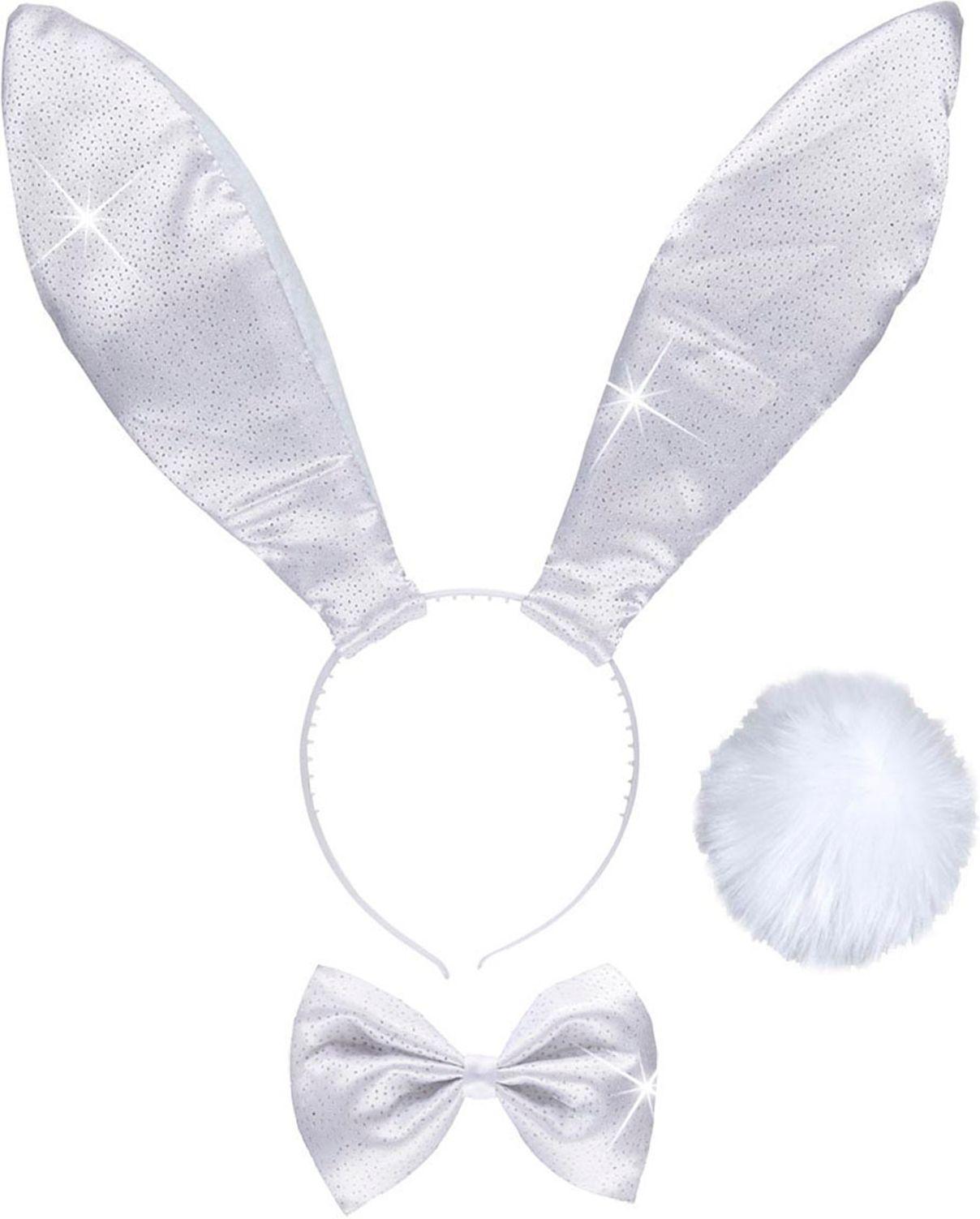 Witte glitter konijn accessoires