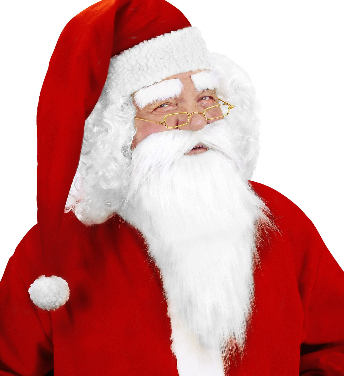 Witte kerstman baard met snor en wenkbrauwen