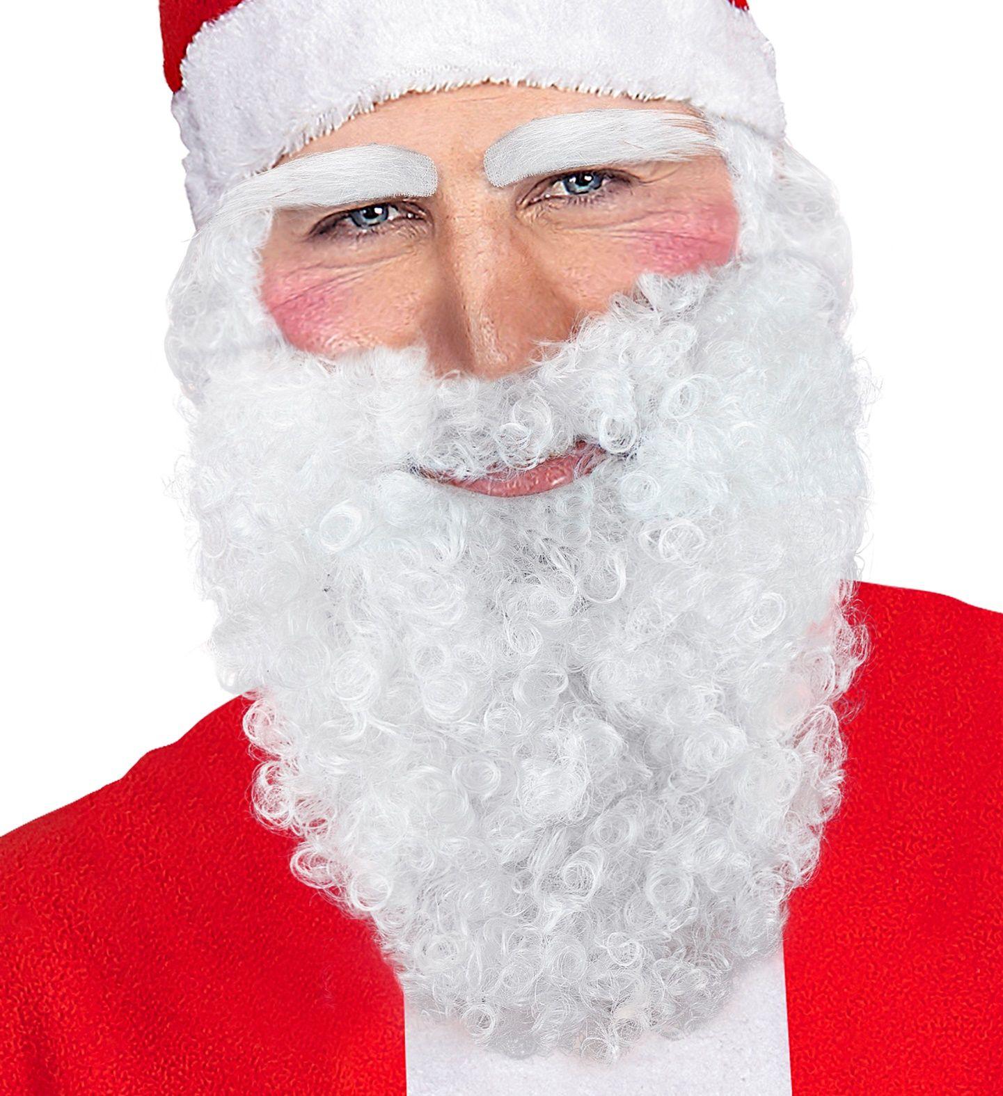 Witte kerstman baard, snor en wenkbrauwen