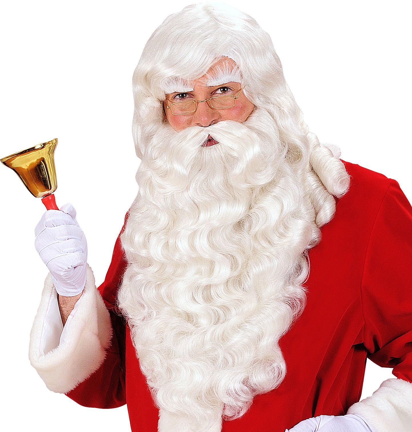 Witte kerstman pruik, baard, snor en wenkbrauwen