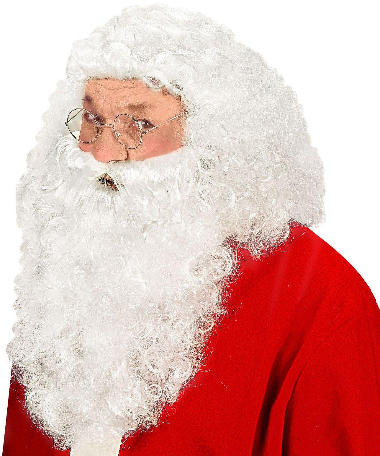 Witte kerstman pruik met baard
