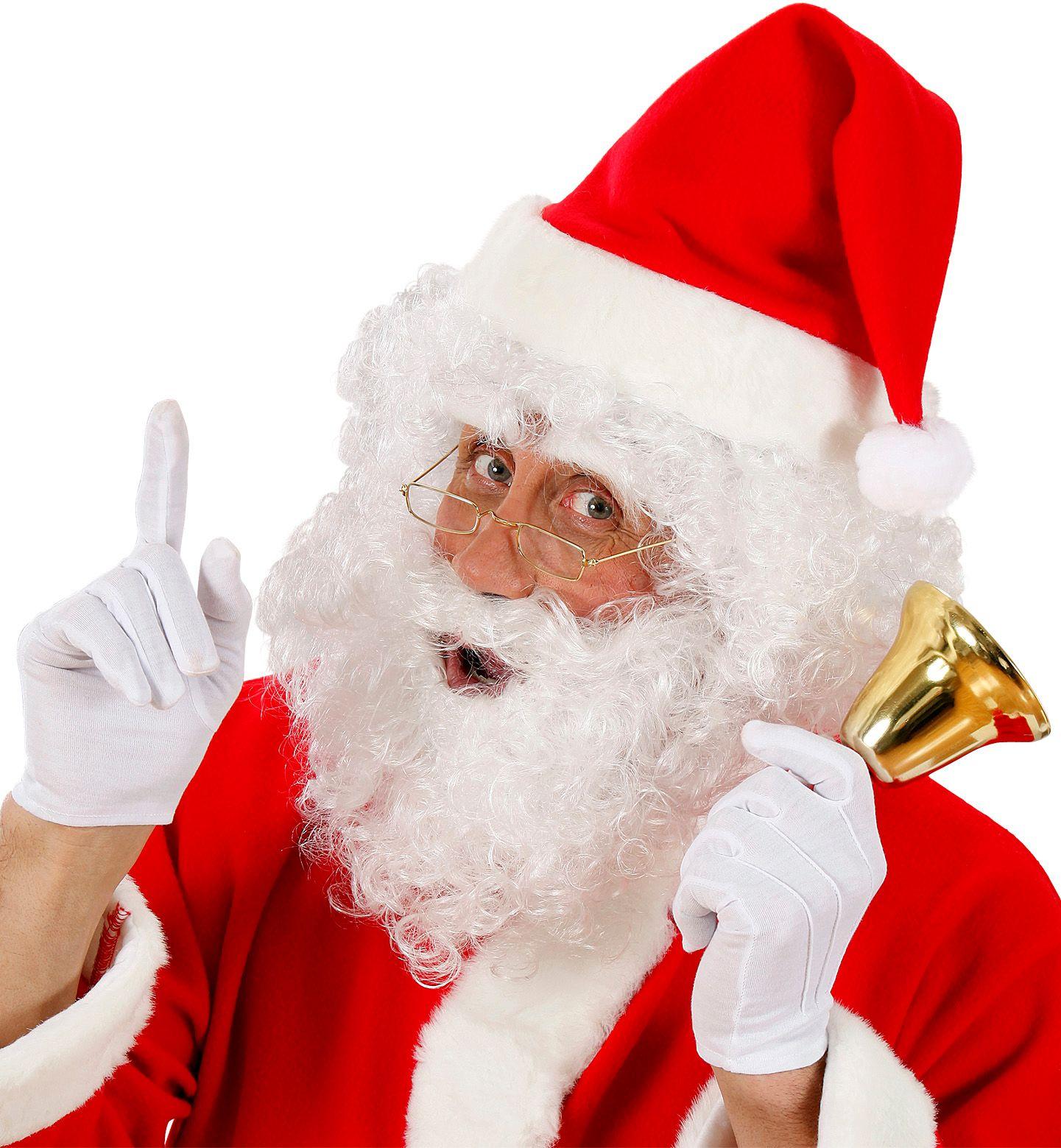 Witte kerstman pruik met baard en wenkbrauwen