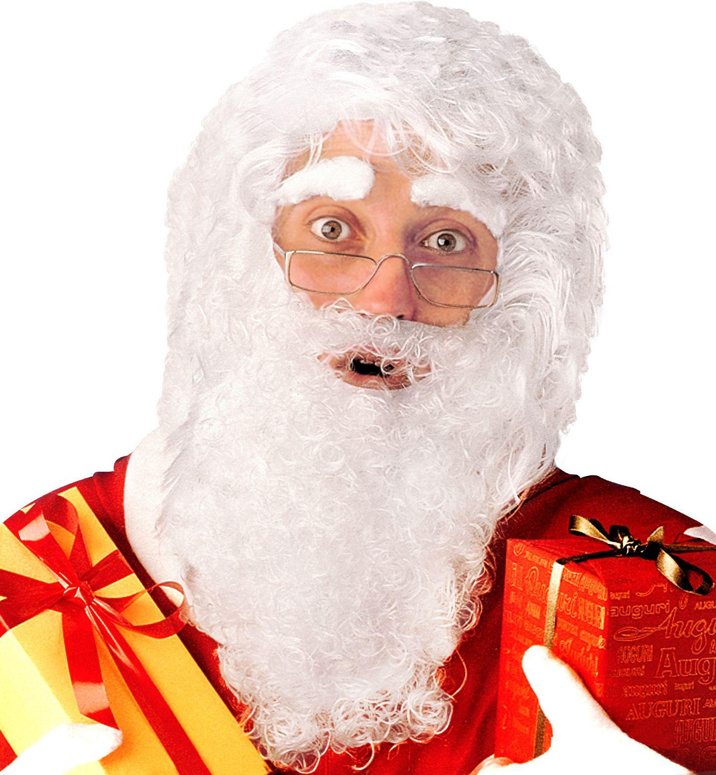 Witte kerstman pruik met baard, snor en wenkbrauwen