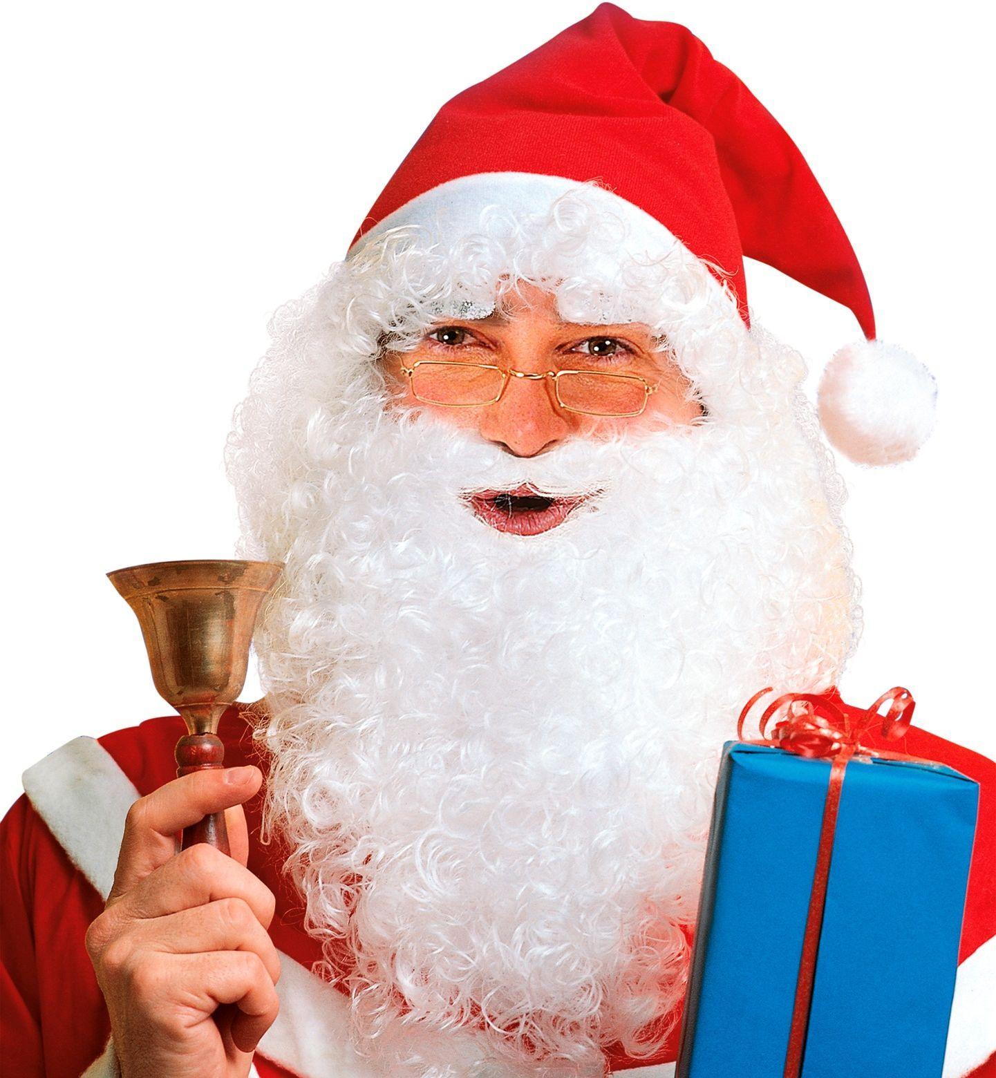 Witte kerstman pruikenset
