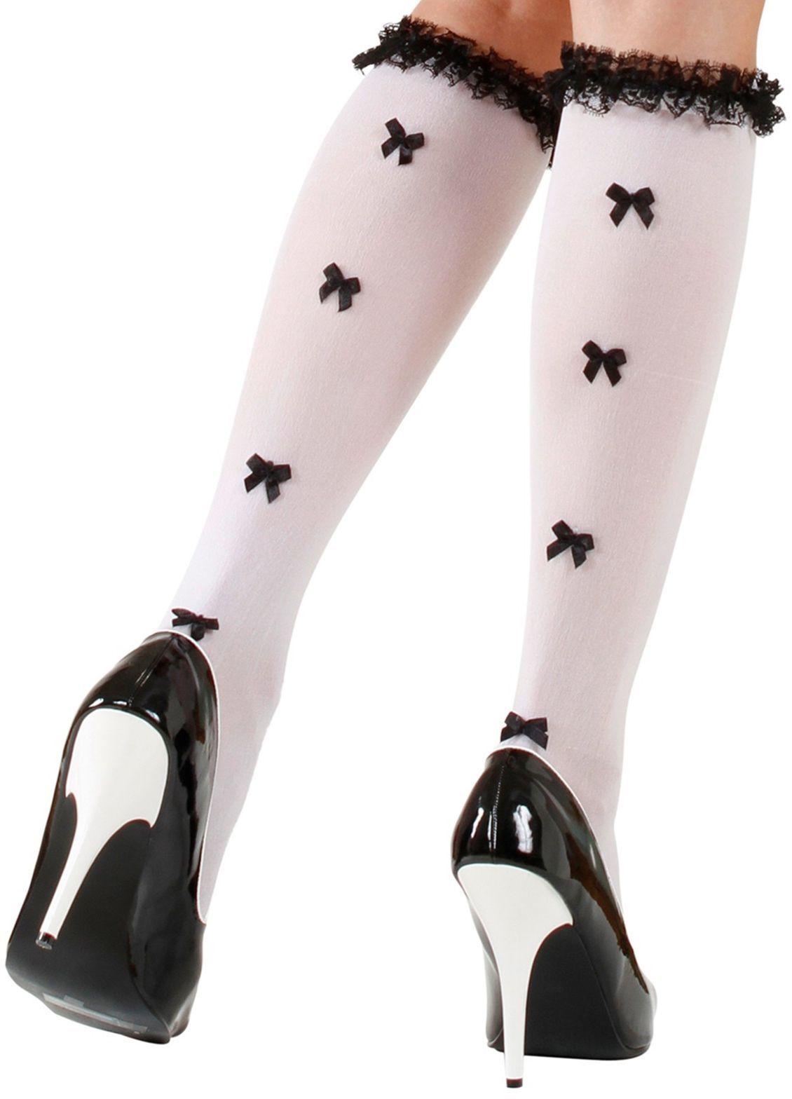 Witte kousen met zwarte strikjes