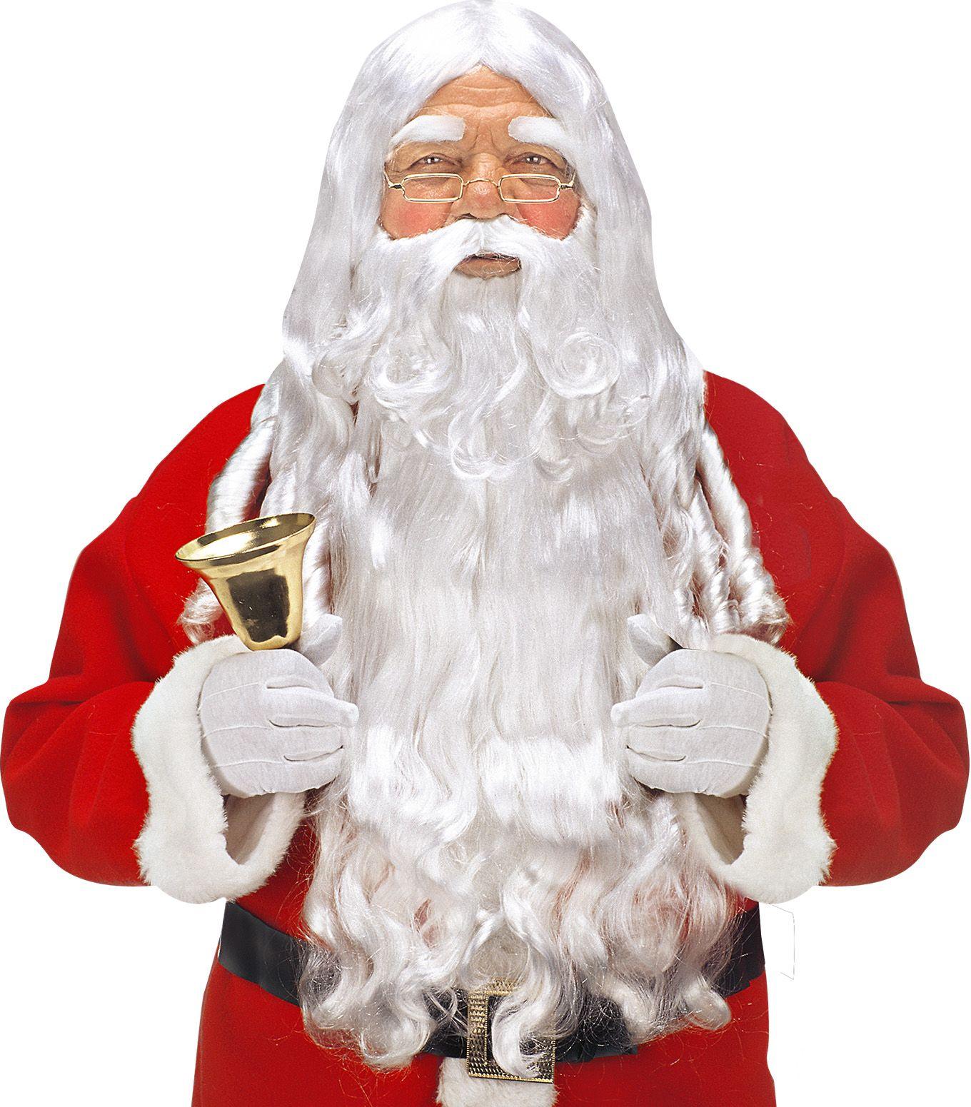 Witte luxe kerstman accessoire set