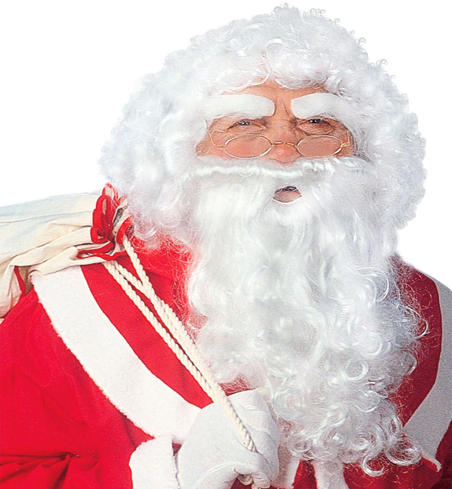 Witte luxe kerstman pruik met baard en wenkbrauwen
