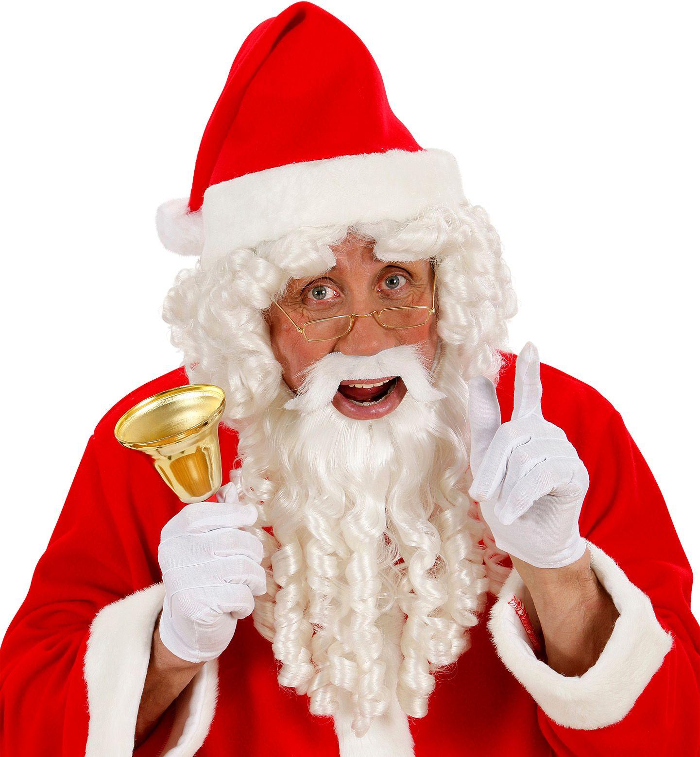 Witte luxe kerstman pruik met baard, snor en wenkbrauwen
