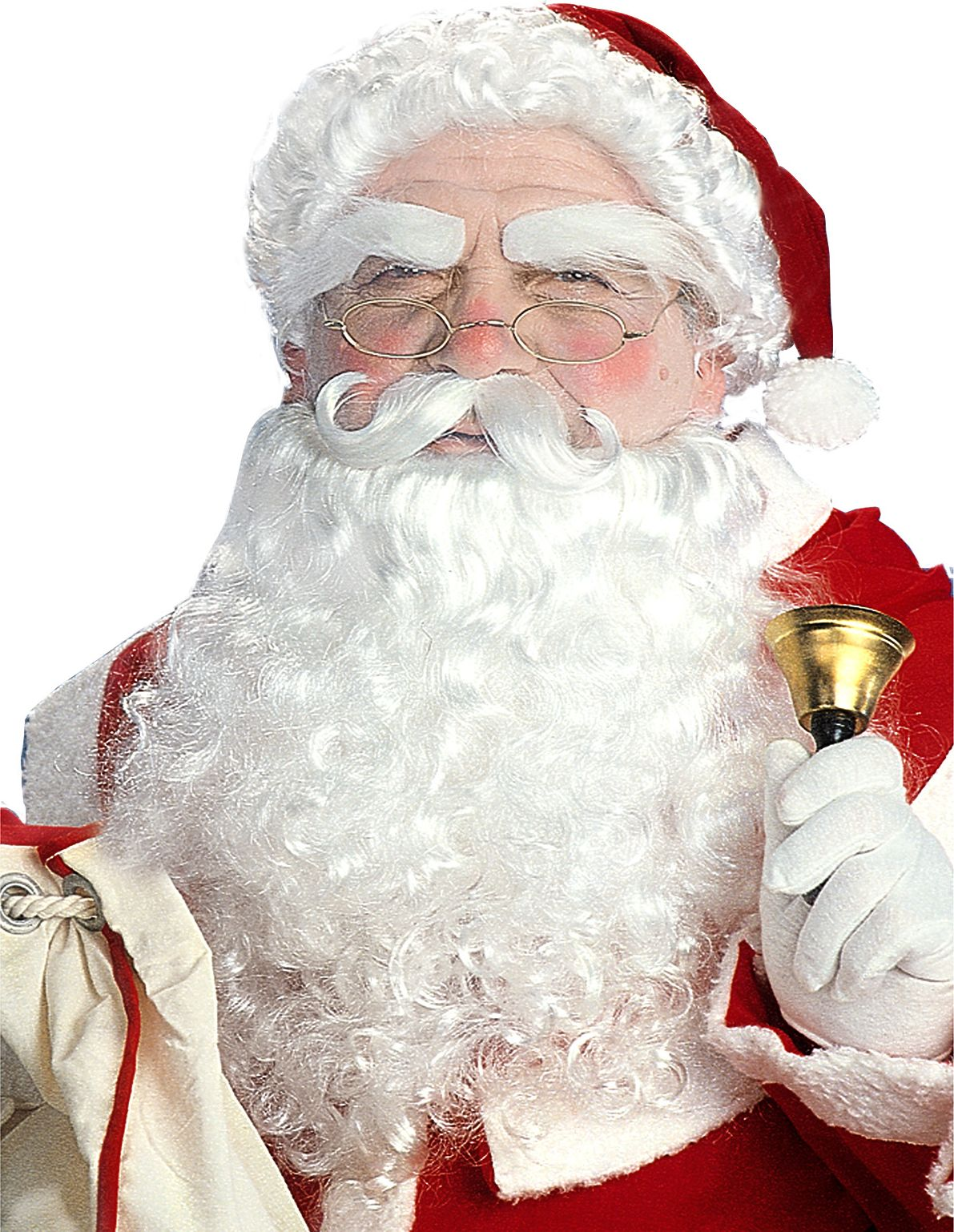 Witte luxe kerstman pruikenset