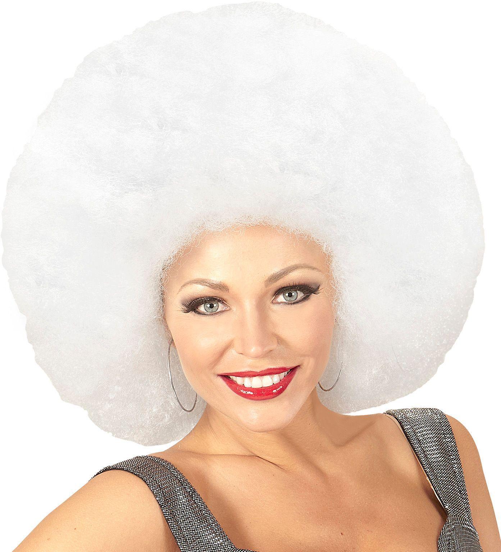Witte maxi afro pruik