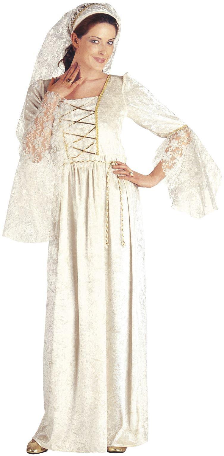 Witte middeleeuwse schone kostuum