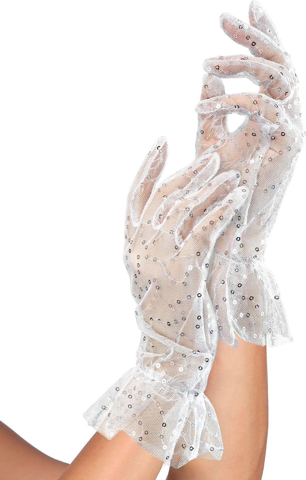Witte pailletten nethandschoenen